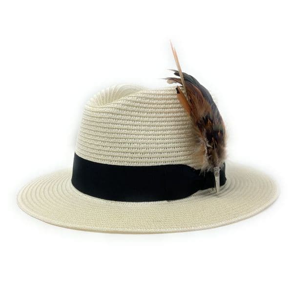 Summer Sun Hat with Removable Feather Brooch - Cream - Westcote
